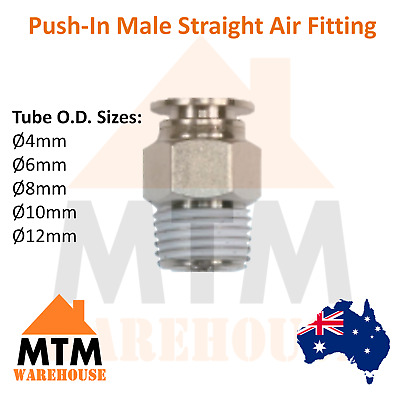 Push in Air Fitting Hose Male Straight 4mm to 12mm Outer Diameter Compressor