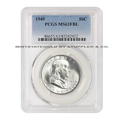 1949 50c Franklin Half Dollar PCGS MS63FBL Full Bell Lines choice Silver coin