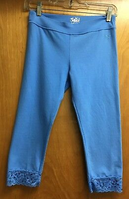 Justice Girl's Blue Capri Cropped Leggings w/ Lace & Sequin Trim size 16