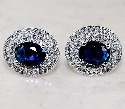 5CT Blue Sapphire & White Topaz 925 Solid Sterling Silver Earrings Jewelry