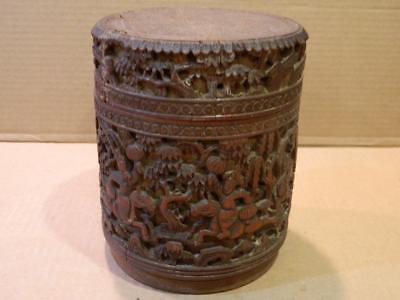 Hand Carved Wood Chinese Brush Box w/ Lid Antique