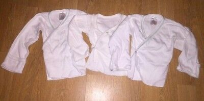 Lot of 3 Baby White Cross Over Long Sleeved Newborn Shirts - 6 Months