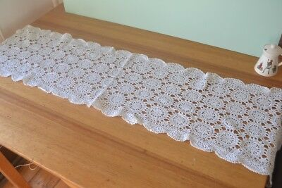 Vintage  crotchet rectangle table runner lace cloth pit2