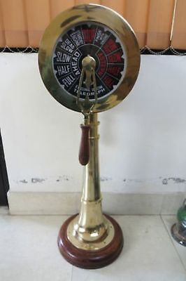 """SHIP ENGINE TELEGRAPH 36"""" COLLECTIBLE WITH WOODEN BASE FUNCTIONAL RING New"""