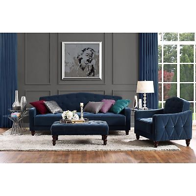 Tufted Sofa Couch Convertible Living Room Indoor Furniture Sleeper Seat Blue