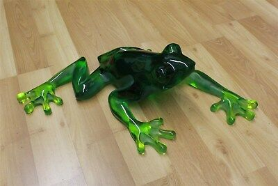 Signed Limited Edition KITTY'S CRITTERS Large Green Acrylic Frog Sculpture CTB