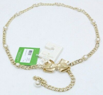 KATE SPADE Bow & Pearl Chain Belt (Gold) - Size S/M - NEW w/ TAGS