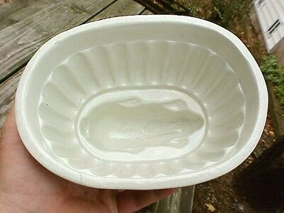 "EX-NM 19thC Antique White Ironstone 8"" RABBIT ASPIC FOOD CAKE GELATIN MOLD"