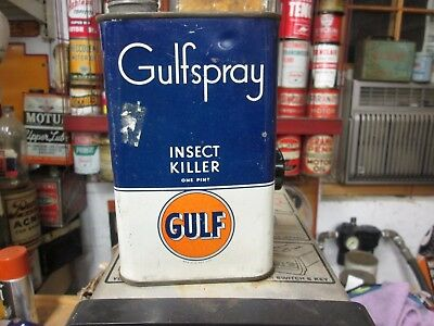Early Original Gulf Motor Oil Pint Metal Can Insect Killer