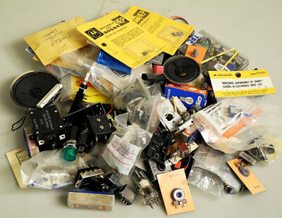 Huge Lot of Small Electronic & Electrical Parts Switches, Speakers, Transistors