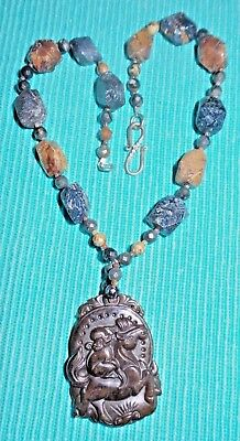 Agate Brown/grey Tones Asian Theme Carved Monkey On Horse; Nice Solid Necklace