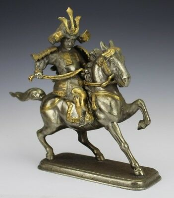 Vintage Hollywood Regency Style Silver Tone Japanese Warrior on Horse Statue SMS