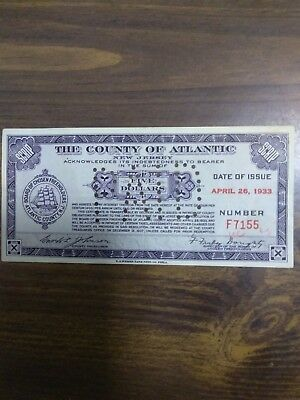 "$5.00 Depression Scrip, Atlantic Co. N.j. , Treasurer ""nucky Thompson"" ,  Rare."