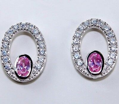 4CT Pink Sapphire & Topaz 925 Solid Genuine Sterling Silver Earrings Jewelry