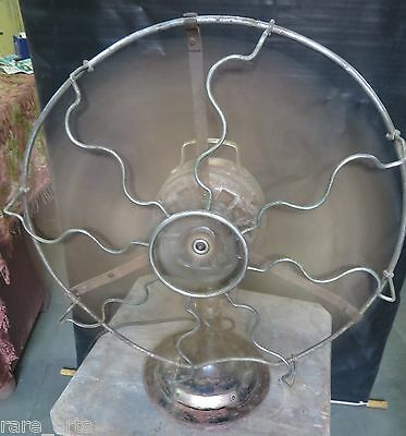 "Vtg.Marelli ? Working Desk Fan Western India Eng.Co 16"" dia. Blade 3 speed"