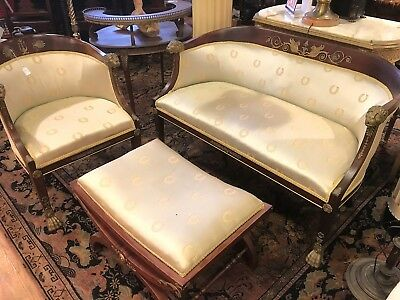 French Empire lounge set suite / 1830 -1860 with providence