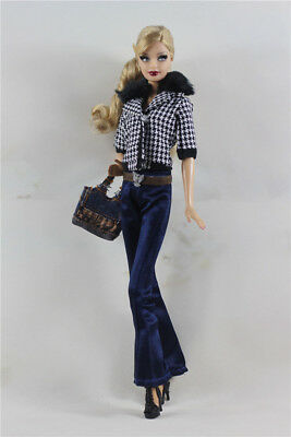 5in1  Fashion Top+Pants+Shoes+belt+Bag FOR 11.5in.Doll Clothes Outfit Girl Gift