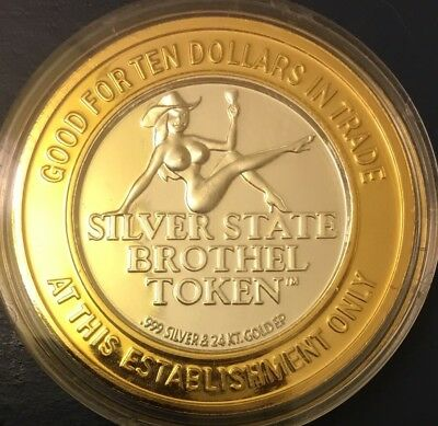 CHICKEN RANCH Legal  Nevada Brothel Gold Plate And Pure Silver Center Token