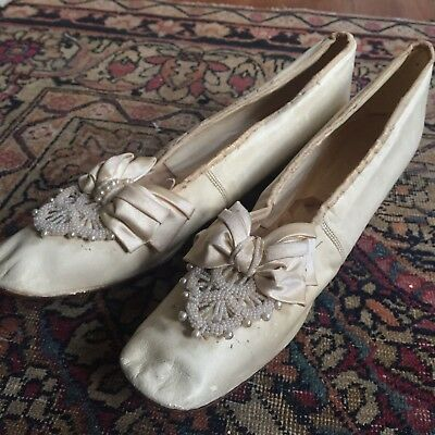 Antique 19th Century Wedding Shoe Leather Silk Pearls Beads Heels Victorian VTG