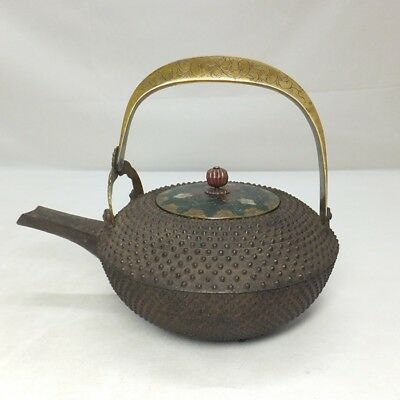 D019: Real old Japanese iron kettle CHOSHI for SAKE with ARARE and SHIPPO lid
