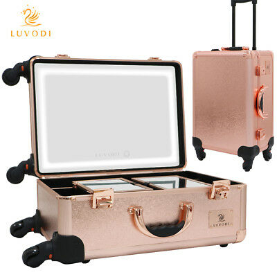 Pro Studio Artist Train Rolling Makeup Case Box with Led Light Mirror 4-Wheeled