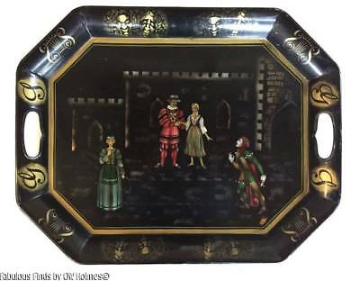 Vintage Stencil Painted TOLEWARE Tray ~ Theater Medieval Theme Shakespeare?