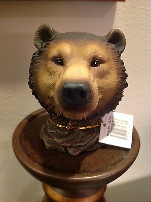 """GRIZZLY BEAR HEAD FIGURINE WESTLAND GIFTWARE 3"""" T x  2 5/8"""" W NATURE"""