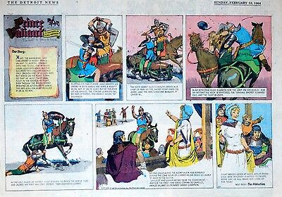 Prince Valiant by Hal Foster - lot of 32 half-page Sunday comics from 1964