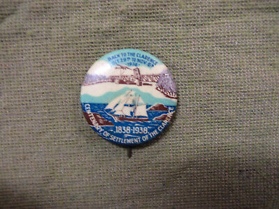 #D304.   1839-1938  Settlement Of Clarence Nsw Area  Tin Badge
