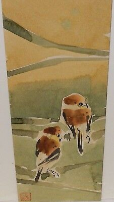 Japanese Brown Birds On A Bamboo Tree Original Watercolor Painting Signed