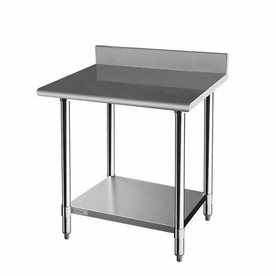 Stainless Steel Commercial Kitchen Prep & Work Table with Backsplash, 30 x 24 In