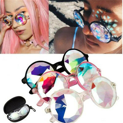 Festival Rave Kaleidoscope Rainbow Round Glasses Prism Diffraction Crystal Len H