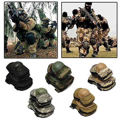 4pcs/Set Military Knee Elbow Pads Blades Guard Protector Combat Gear Sports CS