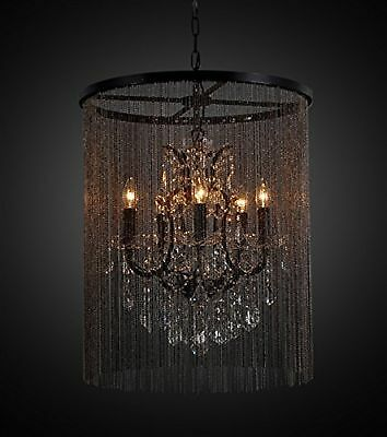 Bohemian Vintage Inspired Vaille Crystal 5 Bulb Chandelier with Beaded Cu... New