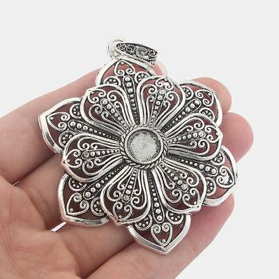 5 Large Antique Silver Flower Charms Pendants Blank 10mm Round Cabochon Settings