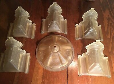 Fancy 1920's Art Deco Lamp Set Globe and Slip Shades Frosted Amber / Gold Color