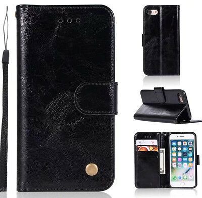 Black Retro period style Business Solid color flip Card slot wallet Leather case