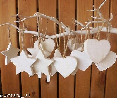 Wedding Christmas Tree Decoration Rustic Nordic Set 10 White Wooden Hearts Stars