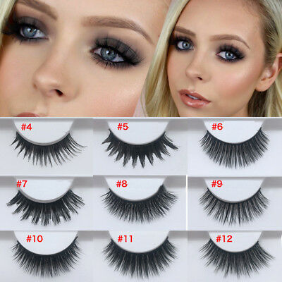 1 Paire Faux Cils 3D Vison Long Naturel Handmade Noir Maquillage