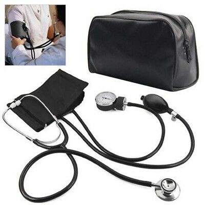 Manual Sphygmomanometer Stethoscope Blood Pressure Meter Aneroid Nylon Cuff Dial