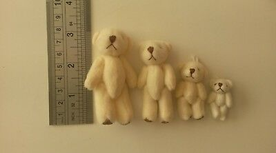 Family of 4 mini Teddies Dolls house crafts favours cream tiny teddy bears