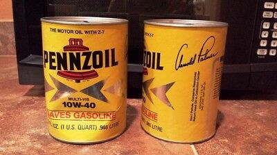 2 Vintage Pennzoil Motor Oil Can Banks with Arnold Palmer signature