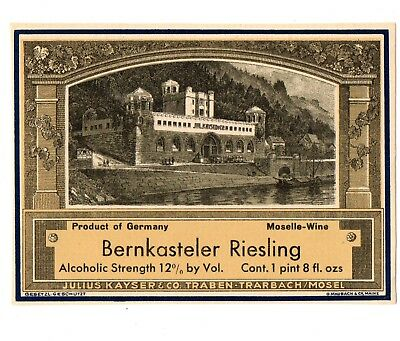 1930s JULIUS KAYSER & CO, TRABEN - TRARBACH, MOSEL, GERMANY RIESLING WINE LABEL