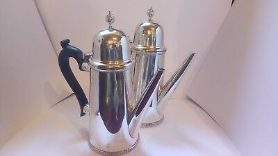 Antique PAIR STERLING SILVER chocolate or hot water pots 755 grams