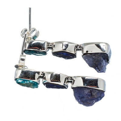 "Tanzanite, Apatite 925 Sterling Silver Earrings 1 1/4"" Ana Co Jewelry E347503F"