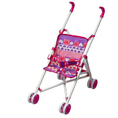 Baby Dolls Pink Hearts Buggy Stroller Jogger Dolls Pram Pushchair Girls Toy