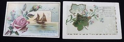 2 White Sewing Machine Trade Cards    #111706