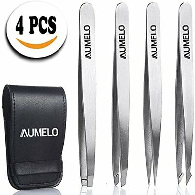 Tweezers Set 4-Piece Professional Stainless Steel With Travel Case By Aumelo And
