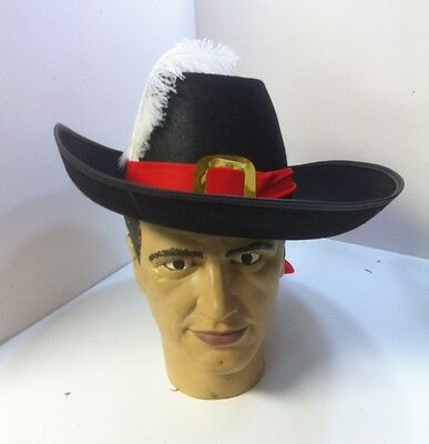 Musketeer Hat White Ostrich Plume Red Trim Soldier Renaissance Adult Full Size