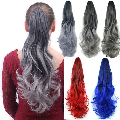 Long curly Wavy Ponytail Ombre claw clip Wrap On Hair Extensions Hairpiece Woman